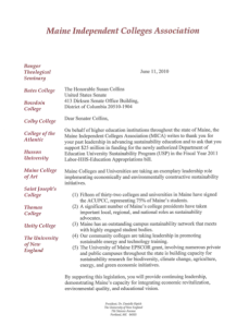 Letter from Maine College Presidents to Senator Collins