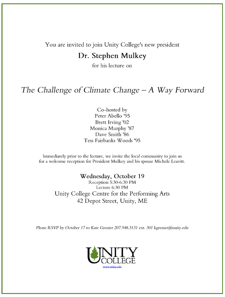 President Mulkey's Climate Lecture Tonight