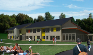 Graphic rendering of the new LEED Silver Residence Hall